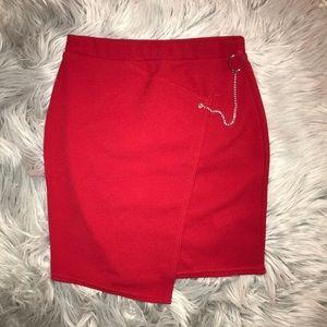Asymmetrical red skirt